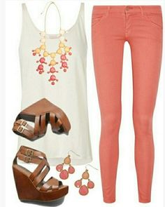 Cute Spring Outfit, white tank top, bright pink skinnies and wedges
