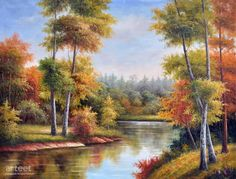 River of Autumn Colours, Art Painting / Oil Painting For Sale - Arteet™