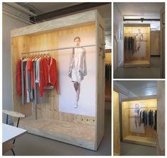 Plywood divider--Temporarily Yours at Schoondenboer, 2 maart 2013 Boutique Interior, Boutique Design, Shop Interior Design, Retail Design, Store Design, Retail Fixtures, Store Fixtures, Merchandising Displays, Store Displays