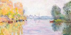 """Autumn on the Seine at Argenteuil after Claude Monet oil painting 24"""" x 12"""" by Marilyn Nolan-Johnson"""