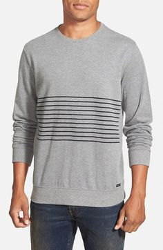 RVCA 'Crucial Sin Stripe' French Terry Crewneck Sweater available at #Nordstrom