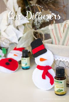 DIY Snowman Car Diffusers - Designs By Miss Mandee. A fun handmade gift idea for Christmas. These diffusers are adorable, affordable, and a delightfully unique way to incorporate essential oils into your holiday gifting. #StimulateTheSenses #ad