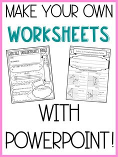 Make Worksheets in 6 Easy Steps – Lindsay Bowden Make your own resources with PowerPoint! Six easy steps to make your own worksheets, assessments, and more! Teacher Tools, Teacher Hacks, Teacher Resources, Powerpoints For Teachers, Resource Teacher, Teacher Supplies, Teacher Worksheets, School Resources, Classroom Resources