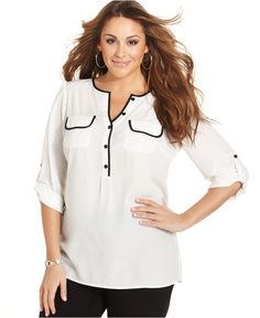 Tried it on this weekend - waiting 'til it goes on sale, because it was a a little too long for me. Hemmed, it will be perfect! Alfani Plus Size Top, Long-Sleeve Utility Blouse - Plus Size Tops - Plus Sizes - Macy's Plus Size Blouses, Plus Size Tops, It Goes On, Tips Belleza, Blouse Online, New Outfits, Plus Size Fashion, Tunic Tops, Womens Fashion