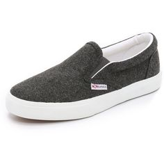 Superga 2311 Wool Slip On Sneakers ($90) ❤ liked on Polyvore featuring shoes, sneakers, dark charcoal, slip on shoes, superga shoes, slipon shoes, charcoal shoes and wool shoes