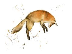 Jumping Fox (BOLD) watercolor print by Katrina Pete in neutral tones. Woodland fox print collection