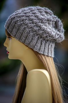 River Rush Knit Slouch Hat | This stylish easy knit pattern can be made in five different sizes!