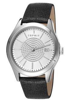 """Esprit, Armbanduhr, """" ES-julia black, ES107792001 """".  Diese trendige Damenarmbanduhr ist ein topaktueller Zeitmesser. Die Lieferung erfolgt in einer Esprit-Geschenkbox. Quartzwerk, Zifferblatt silberfarben, Datum, Edelstahlgehäuse, Ø ca. 36 mm, Lederband schwarz, Gesamtlänge ca. 24,5 cm, verstellbar von ca. 17 cm bis ca. 22 cm, Dornschließe, Mineralglas, Spritzwassergeschützt,  ..."""
