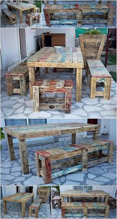 For the garden seating need, here is an idea for creating rustic shipping pallet table with benches. The benches you can see are of two sizes, the table is huge and many members of the family can have a meal at a time sitting there.