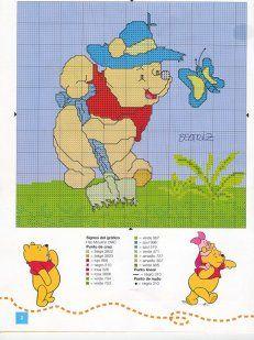 Winnie the Pooh Cross Stitch Cross Stitch Animals, Cross Stitch Kits, Counted Cross Stitch Patterns, Cross Stitch Charts, Cross Stitch Designs, Cross Stitch Embroidery, Disney Stitch, Stitch Cartoon, Winnie The Pooh Friends