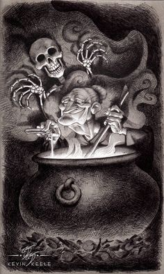ArtStation - The Witch and the Skeleton, Kevin Keele Badass Drawings, Amazing Drawings, Art Drawings, Halloween Illustration, Paper Illustration, Drapery Drawing, Halloween Art Projects, Artist Sketchbook, Toned Paper