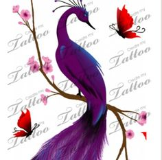 Purple peacock tattoo I absolutely love this!!! Everything about this