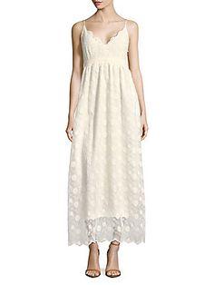ccbd30a7908 Molly Bracken - V-Neck Botanical Lace Maxi Dress
