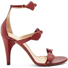 Chloé Mike leather sandals ($477) ❤ liked on Polyvore featuring shoes, sandals, dark red, bow shoes, leather sandals, leather ankle strap sandals, leather shoes and ankle wrap shoes