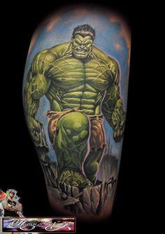The Hulk Tattoo - Randy Engelhard http://tattoosgeek.com/comic-book-tattoos/the-hulk-tattoo/
