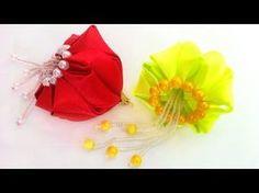Елочная игрушка Медуза, игрушка на елку новогодний шар канзаши из атласных лент своими руками МК - YouTube