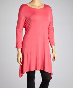 Look what I found on #zulily! Coral Sidetail Tunic - Plus by MOA Collection #zulilyfinds
