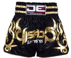 DE BLACK WITH GOLDEN TRIM MUAY THAI SHORTS [DEMTS-028]