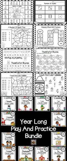 Year Long Play and Practice Bundle: Math and Literacy Games and Worksheets Interactive Activities, Literacy Centers, Teaching Resources, Teaching Tools, Teaching Math, Piano Teaching, Early Finishers, Preschool Kindergarten