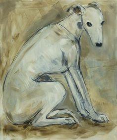 White Greyhound/whippet, mixed media on canvas, 60 x 50 cm, artist: Claudia Gaede