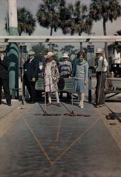 Visitors play shuffleboard at a recreation center near Mirror Lake in St. Petersburg, Florida, 1929.