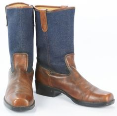 Vintage Brown Leather Campus Riding Boots Blue Denim Top Square Toe Mens 11 D #Unknown #Campus