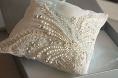 pillow embroidered with PEARLS!!!!!