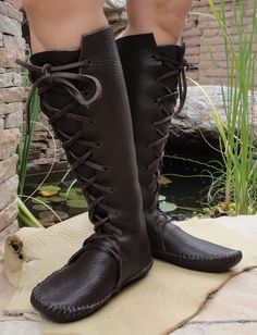 Elf Boots Handmade Moccasins Dark brown  Leather w/Leather soles Order Your Size Mens and Womens sizes many colors custom orders. $225.00, via Etsy.
