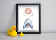Shark and donut - Printable wall art - Instant download 8 x 10 and 8 1/2 x 11 - Watercolor illustration