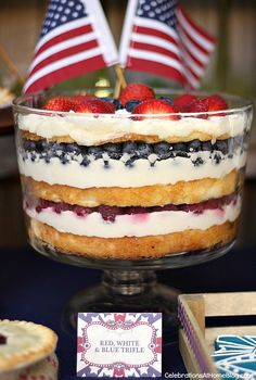 This red, white, and blue trifle is a show stopper on your 4th of July dessert table. Get this delicious recipe now.