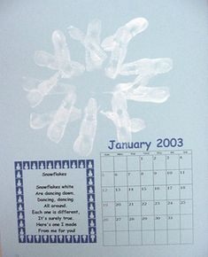 Handprint Calendar -- thinking of a book with handprints on one side and the poem on the other instead of a calendar. And have it printed. Make great Christmas presents for the grandparents. Calendar Time, School Calendar, Kids Calendar, Print Calendar, Calendar Ideas, Craft Activities For Kids, Christmas Activities, Crafts For Kids, Cute Christmas Gifts