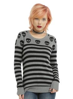 Skulls and stripes 4 ever // Grey Black Skull Stripe Girls Pullover Sweater