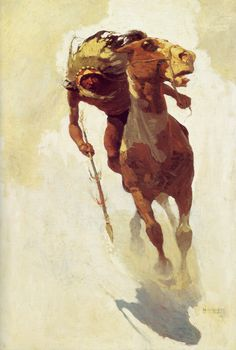 N.C. WYETH  Indian Lance   Oil on Canvas