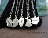 State Necklace   - Ohio, Illinois,Wisconsin, Indiana, Michigan, Iowa State Charm Necklace Midwest State Silver or Gold. $28.00, via Etsy.