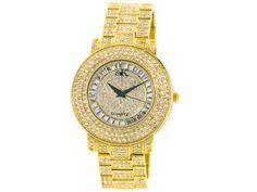 Adee Kaye Beverly Hills White Crystal Gold Tone Watch