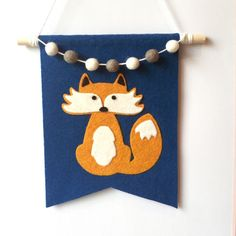 woodland fox felt wall hanging by TheAnnexFeltStudio on Etsy