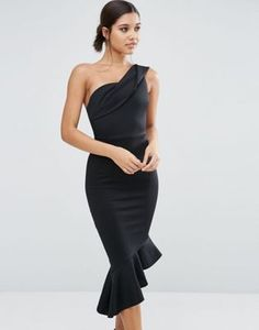 ASOS Scuba One Shoulder Peplum Midi Dress