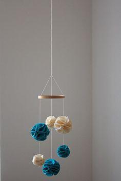 diy mobile idea, fabric pom poms