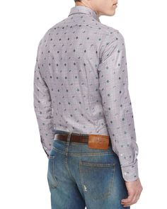 Plaid Sport Shirt with Small Paisley-Print, Gray