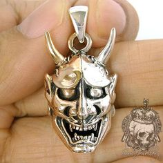 Men's Silver Pendant Japanese Demon Oni Mask Copper
