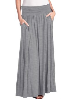 High Waist Fold Over Shirring Maxi Skirt with Pockets