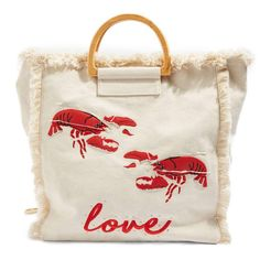 Designer Clothes, Shoes & Bags for Women Canvas Shopper Bag, Canvas Tote Bags, Shopper Tote, Love Canvas, Beach Wear, Fabric Bags, Beach Tote Bags, Bikini, Cloth Bags
