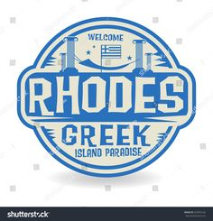 Stamp or label with the name of Rhodes, Greek Island Paradise, vector illustration