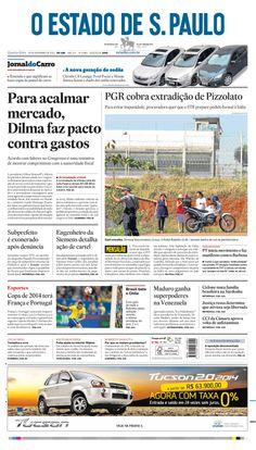 Primeira página do 'O Estado de S. Paulo' em 20 de novembro de 2013: Para acalmar mercado, Dilma faz pacto contra gastos http://oesta.do/1dgD5K6