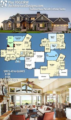 Architectural Designs House Plan 95023RW. 4+BR | 3+BA | 3,800+