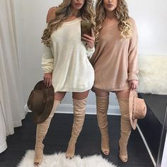 #Twinning in our bailey knits and higher standard boots  www.divaboutiqueinline.com
