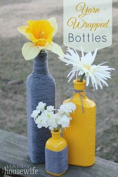 These yard wrapped bottles are so pretty! I love that you can customize them for the season or your decor. They make great vases and house warming gifts. You only need a bottle, scissors, yard and mod podge to make DIY craft in an afternoon!