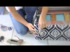 here I show you guys how to DIY a custom chevron pouf ottoman! incorporating the chevron and ikat pattern trends i show you how to make this awesome DIY pouf. Diy Storage Ottoman, Diy Ottoman, Ottoman Ideas, Tufted Ottoman, Furniture Projects, Diy Furniture, Diy Projects, Pallet Ottoman, Crates