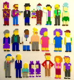 Simpsons Retro Pixel Pop Art. 8 bit Sprites. Perler Bead