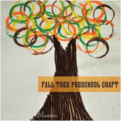 """Fall Color Project.  Use finger paint for the trunks, toilit paper rolls for the """"leaves"""". Talk about the circle shapes."""
